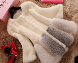 Wholesale White Winter Coats For Women - New Imitation Mink Winter Fur Coat Fashion Medium Long O-Neck Slim White Faux Fur Coat For Women Outerwear hight quality free shipping