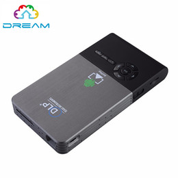 Wholesale C2 Android - Wholesale-Smart Mini Projector C2 Android 4.4 Mini LED DLP Portable Long life LED lamp Full HD LED home cinema WiFi Bluetooth4.0 projector
