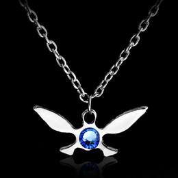 Wholesale Legend Zelda Link - Wholesale-Legend of Zelda Necklace Zelda Triforce Pendant Necklace Sapphire Jewelry Butterfly Charm Papillon Necklace Gold Silver