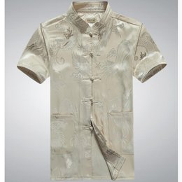Wholesale Tang Suit Cheongsam Top - Wholesale- China dragon 2017 Men Tang Suit Short Sleeve Summer Cheongsam Top Jacquard Silk Shirt Men Kung Fu Tai Chi Uniform w377