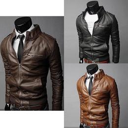 Wholesale purple leather bomber jacket - Wholesale- Men Winter Fashion Cool Zipper Pocket Faux Leather Bomber Jacket Coat Outerwear