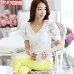 Wholesale Korean Office Blouses - Lace Blouse Women Short Sleeve 2017 Korean Style Summer Elegant Pearl Beading V-neck Ladies Shirt New Fashion Top Office Clothes