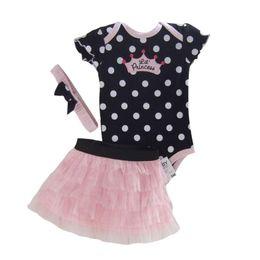 Wholesale Spot Tutu - Wholesale- Newborn Infant Baby Girls Set Polka Dot Headband+Romper+TUTU Outfit Spot Clothes