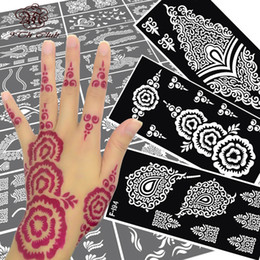 Wholesale Paintings Indian - Wholesale-8Pcs Mehndi Henna Hand Tattoo Stencils, Temporary Glitter Airbrush Indian Henna Tattoo Templates Tattoo Stencil For Painting