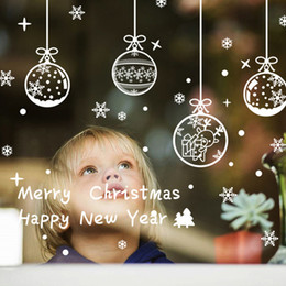 Wholesale Happy New Year Glasses - Happy New Year Christmas Deer Snowflake Wall Sticker Art Decals Removable PVC Wall Stickers Home Decor for Shop Glass Window
