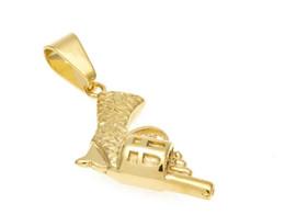 colgante de pistola de oro Rebajas De calidad superior de plata del color de la arma forma de pistola collar colgante con diamantes de imitación incluyen 3mm cuba cadena bling accesorios de la joyería collar unisex
