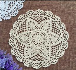 Wholesale Lace Doilies Fabric - Wholesale- 12pcs 30CM Cotton Lace cotton fabric doily Round flower america Doilies crochet Placemat Tableware mat Decoration Free Shipping