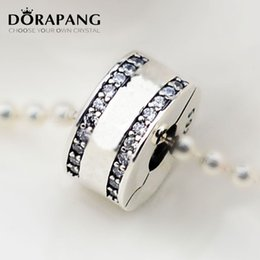 Wholesale 925 Silver Bead Stopper - DORAPANG Authentic 925 Sterling Silver Bead Charm PAN Insignia With Crystal Clip Lock Stopper Beads Fit Women Bracelet DIY Jewelry 3053