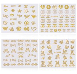Wholesale decal sheets - 3d Gold Nail Art Stickers Decals 1 sheet Flowers Bowkbot Crown Star Design Metallic Adhesive Nail Foils Tips Decoration DIY Nail Supplies
