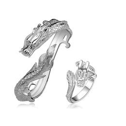 Dragons orientaux en Ligne-meilleur cadeau Oriental Dragon ensembles de bijoux en plaqué argent pour les femmes WS775b, beau collier en argent 925 collier boucle d'oreille ensemble