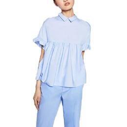 Blusa suelta de mariposa online-Mujeres elegante manga de la mariposa floja plisada camisas lindas plisada azul espalda arco manga corta blusa verano tops casual DT729