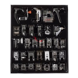 Wholesale Box Brother - 1Lot Set=32pcs Domestic Sewing Machine Presser Foot Feet Kit Set With Box For Brother Singer Janom Yokoyama Juki Sewing Machine Accessories