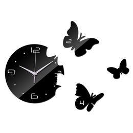 Wholesale Diy 3d Clock - Wholesale-2015 New Wall Clock Diy Ciocks Quartz Watch Acrylic Mirror 3d Stickers Living Room Europe Needle Reloj De Pared Horloge Murale
