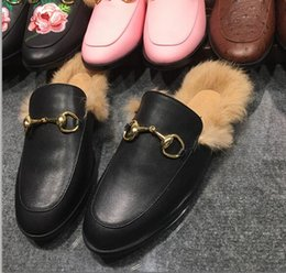 Wholesale Real Nest - Real Leather Ladies Slippers Fur Women Nest Shape Cozy Slippers Flats Shoes Black Branded Cover Toe Loafer Shoes Big Size 42 Casual Shoes