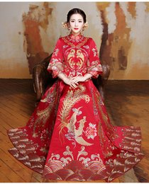 Wholesale Toast Cheongsam - XiuHe suit the new 2017 prospective Chinese cheongsam cultivate one's morality dress costume a toast to the bride dress longfeng binding