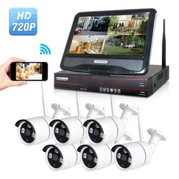 Wholesale Wireless Cctv Systems 8ch - 6Pcs Camera LCD Screen Monitor Wireless Outdoor 720P HD CCTV Security 8CH NVR Home Alarm System