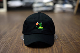 Wholesale Peach Drinks - Kermit Tea Hat The Frog Sipping Drinking Tea Baseball Dad Visor Cap Emoji New Popular 6 Panel polos caps hats for men and women