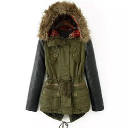Wholesale Long Padded Hooded Coats Women - Winter Jacket Women Down Parka Plus Size Cotton Padded Coat Fur Hooded Outwear PU Leather Sleeve Winter Coat Women