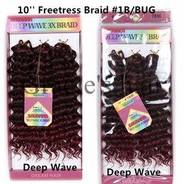 Wholesale Freetress Synthetic Hair - 10inch deep wave Crochet Hair Bohemian Freetress Crochet Braids Water Wave Synthetic Braiding Bulk Hair freetress deep wave crochet hair