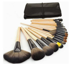 Wholesale Set Brushed 24 Pcs - new arrival cosmetics brushes for eyebrow eyeshadow lip and so on with 24 pcs in one bag Soft Oval Foundation Makeup Brush Sets DHL free
