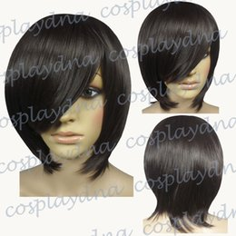 Wholesale Long Bob Cut Wigs - 16 inch Hi_Temp Chestnut Brown Long Layer Bob Cut Short Cosplay DNA Wigs 6504A