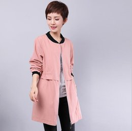 Wholesale Trench Coat For Women Pink - Pink lightweight bomber maternity jacket for women clothespregnant safari suit military utility outwear long sleeves large big trench coats