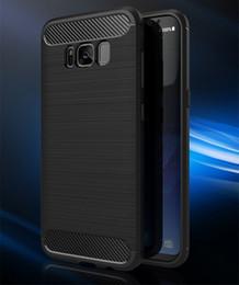 Wholesale Carbon Fibre Brush - Carbon Fibre Brushed Soft TPU Case for Samsung Galaxy S7 Edge S8 Plus S6 Edge Original phones Cover Coque Funda