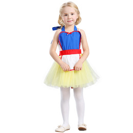 Wholesale White Apron Wholesale - kids dancewer summer new girls suspender tulle apron Snow white princess dress children's day Performance clothing A0769