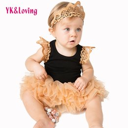 Wholesale Cheap Cute Baby Girl Headbands - Baby Girl Skirt Baby Tutu Skirt Lace Dress Headband Cheap soft Cotton Baby Rompers Spring Summer 2017 Hot Bodysuit Sleeveless Clothing Dress