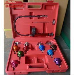 Wholesale Pressure Test Pump - Wholesale- Car Radiator Test water Pressure tester pump gauge tester adapter Color Cap Leakage test MST-URP001 14pcs type
