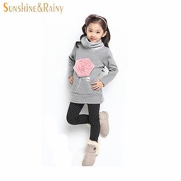 Wholesale Girl Rose Coat - Wholesale- Large Size(6-13)Years Girls Floral Cotton High Collar Sweater Coat Child Teens Female Casual Pullover Rose Sweatshirts Hoodies