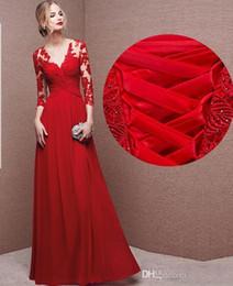 9f79c29dcb 2016 Nuevo Diseño Para El Vestido De Novia Vestido De Cuello Sexy V  Apliques Invitado Vestidos Rojo Maid Of Honor Vestidos Con Mangas