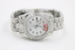 Wholesale Watch Automatic Lights - Top seller Unisex Wristwatch Full Stainless Steel Diamonds Platinum Belt Light White Face top quality mechanical watch women's watch