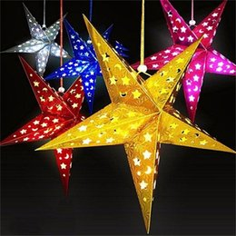 Wholesale Paper Hanging Star - Christmas Paper Star Lantern 3D Pentagram Lampshade for Christmas Xmas Party Holloween Birthday Home Hanging Decorations Colorful