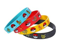 Wholesale Jelly Bands Wholesale - Poke Mon Go Silicone Bracelets for Kids Pocket Monster Wristband Soft Silicone Wrist Band Straps Figures Kids Toys Cosplay Gift