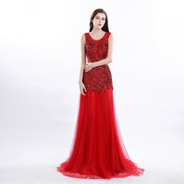 Wholesale Organza Rhinestone Sequins Evening Gowns - In Stock Backless Crystal Rhinestone Blue Beaded Evening Dresses Gorgeous Tulle Floor Length Prom Gowns Red Color Sequins Prom Dress Cheap