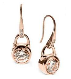 ganci di cristallo d'oro Sconti Orecchini a gancio in oro con marchio di moda Orecchini pendenti in cristallo Orecchini a bottone con diamanti Orecchini in zircone Gioielli da sposa per donna Oro rosa Oro argento