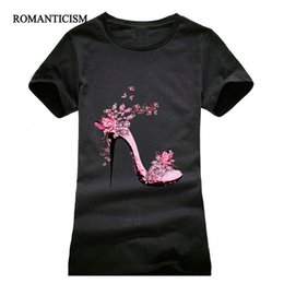 Wholesale High Neck Shoes - Wholesale- NEW High-heeled Shoes Printing T shirt Women Fashion Summer Camisetas Women T-Shirt Streetwear Cotton top tees red black grey