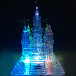 Wholesale Crystal Building Models - 3D Crystal Christmas Gift Music Flash Model DIY Castle Transparent Blocks Children Brain Educational Toys