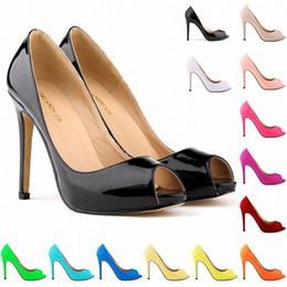 Scarpe da pesca taglia 11 online-Estate nuove scarpe moda sexy ed elegante testa di pesce tacco più alto impermeabile sandalo donna scarpe in pelle verniciata taglia US 4 5 6 7 8 9 10 11 D0026