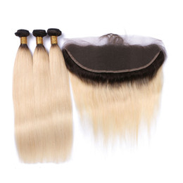 Wholesale Wholesale Lace Frontals - 9A 13*4 Blonde Lace Frontal Closure With Bundles 3 Pcs Straight Peruvian Virgin Human Hair Bundles With Frontals Free 2 Part Frontal Weaves