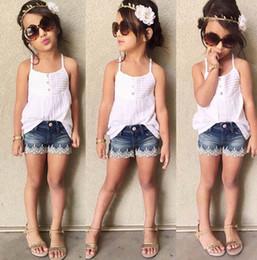 Wholesale girls denim shirts - Girls INS sling Lace suits Children summer sleeveless sling T-shirt +flower denim shorts 2 pieces set suit Baby kids clothing B001