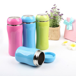 розовая термос-кружка Скидка Wholesale- Thermoses Cup Double Wall Stainless Steel Drinkware thermo tumbler mug Lady Travel outdoor Pink Blue Solid Vacuum flask bottle