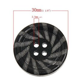 Wholesale Black Hole Pack - Kimter Black Round Wooden Sewing Buttons With 4 Holes Buttons 30mm For Sewing Embroidered Crafting DIY Accessory Pack Of 30pcs I710L