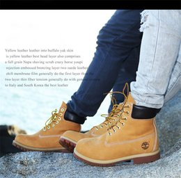 Wholesale Cowboy Fashion Winter Boots Men - Cowboy Tooling boots First layer Cowhide Classic Wheat Yellow TBL Martin Boots Women Mens Retro Waterproof Outdoor Work Casual Sneakers