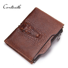Wholesale Cheap Passport - Wholesale- CONTACT'S 2017 New Male Genuine Leather Wallet Coin Zipper Pocket Fashion Short Design Men's Wallet Cheap Designer Men Wallets