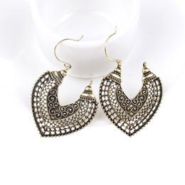 Wholesale Earring Wraps - 2017 Fashion Boho Long Drop Earrings For Women Jewelry Vintage Silver Carved Ethnic Earrings Power Bohemian Wrap Earrings