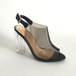 Saltos claros on-line-Sapatos de Vestido preto Transaprent PVC Limpar Salto Alto Peep Toe Slingbacks Mulheres Bomba De Salto Alto Personalizado PU Cor Plus Size EU34-46