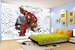 Wholesale Paper Iron Man - 3D Stereo Iron Man TV background wall mural 3d wallpaper 3d wall papers for tv backdrop