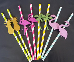 Wholesale Purple Drank - Tropical Flamingo Cocktail Straw Summer Beach Pool Hawaiian Party Pineapple Drinking Straws Wedding Birthday Hen Night Fun Decoration